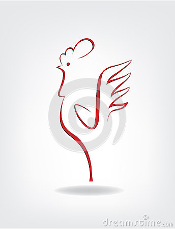 Stylized cock on the gray background