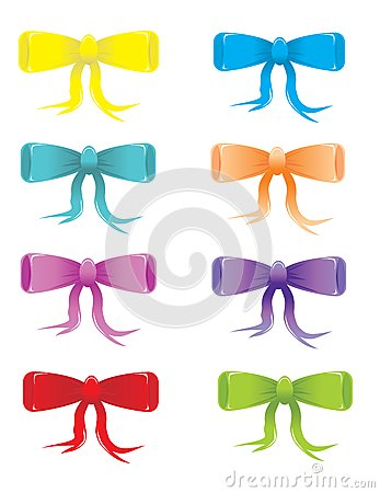 Stylized colored bows
