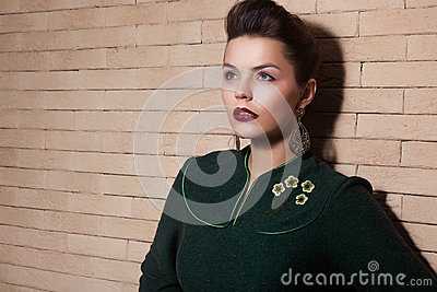 Stylized Cute Lady in Green Dress Portrait