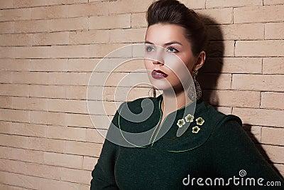 Stylized Cute Lady in Green Dress Portrait