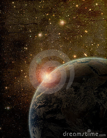 Stylized Earth and Space Artistic Image