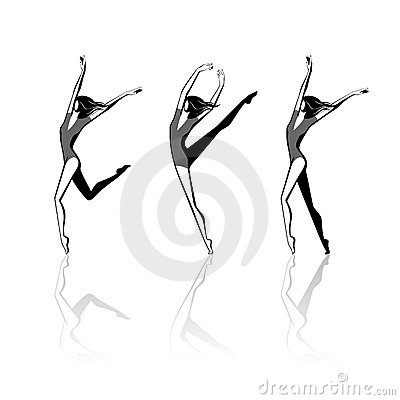 Stylized female figures in movement