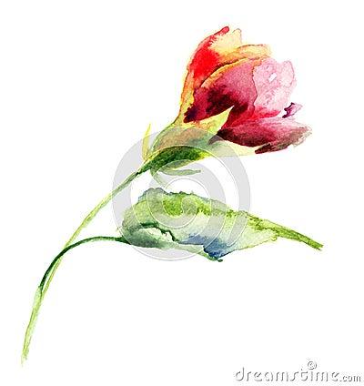 Stylized flower watercolor illustration