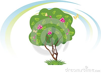 Stylized flowering tree with butterflies