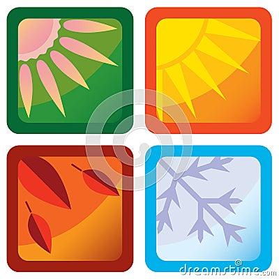 Stylized four seasons icons