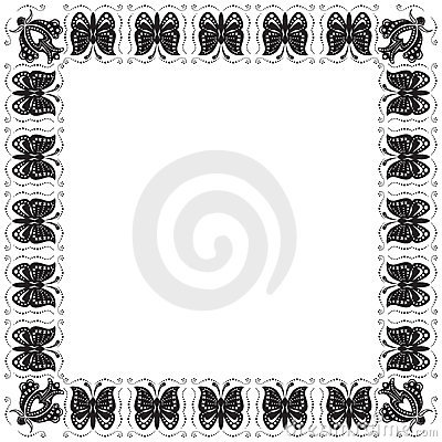 Stylized frame with butterflies and flowers