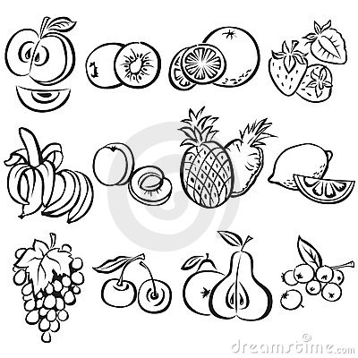 Stylized fruit  set on a white background