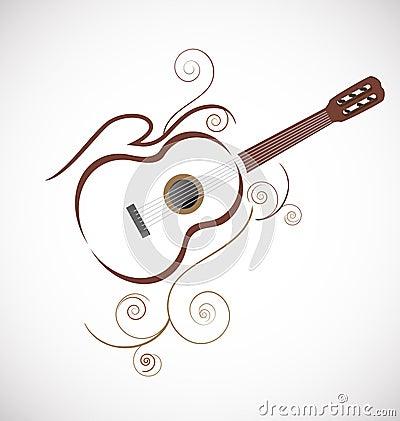 Stylized Guitar Logo Stock Photo