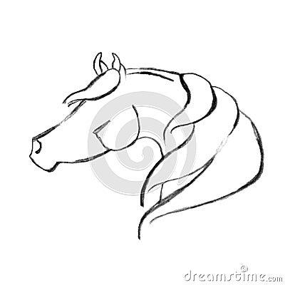 Stylized Hand Drawn Arabian Horse