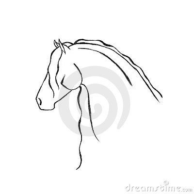 Stylized Hand Drawn Friesian Horse
