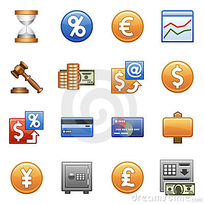 Stylized icons. Finances and business.