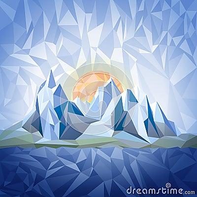 Stylized landscape in origami style