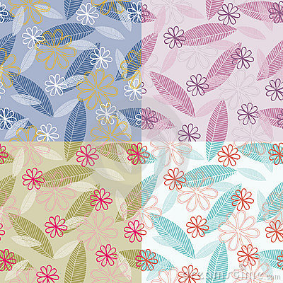 Stylized Leaves and Flowers Seamless Pattern