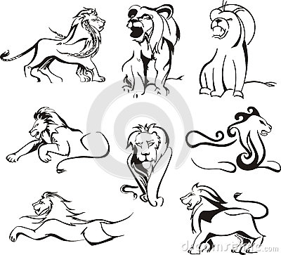 Stylized lions