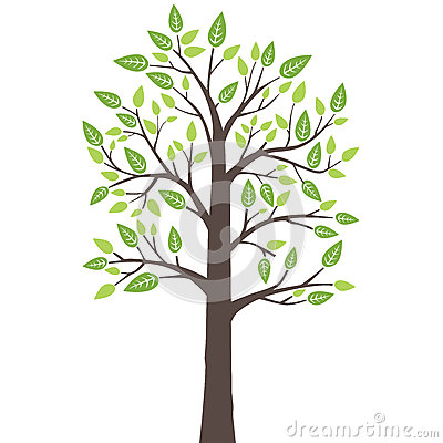 Stylized lone tree with fresh young leaves
