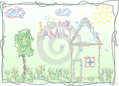 The stylized lovely children s drawing
