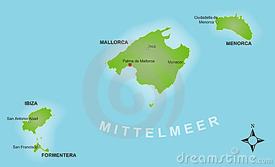 Stylized map of the Balearics