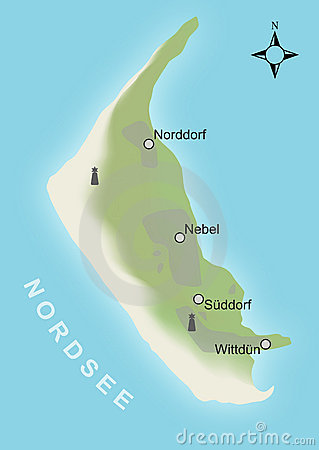 Stylized map of the german island Amrum