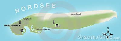Stylized map of the german island of Norderney