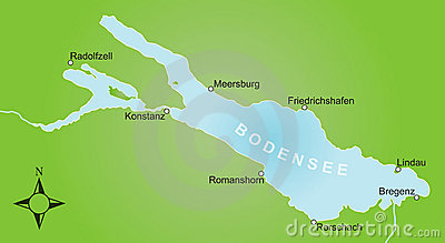 Stylized map of lake Constance and surroundings