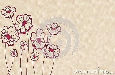 Stylized maroon flowers
