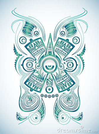 Stylized Mayan Symbol -tattoo, Vector Illustration Stock Image - Image ...