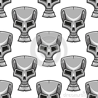 Stylized modern silver skull seamless pattern