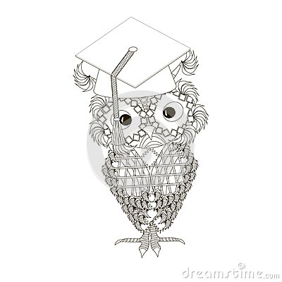 Stylized monochrome owl at student cap, doodle style anti stress Vector Illustration