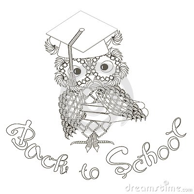 Stylized monochrome owl at student cap, lettering Backto School doodle style anti stress Vector Illustration