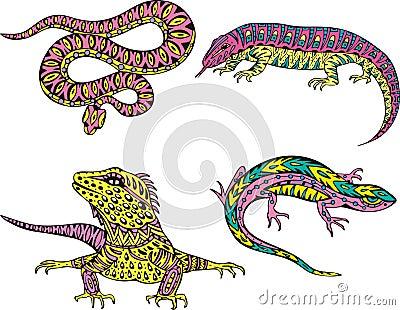 Stylized motley snake and lizards