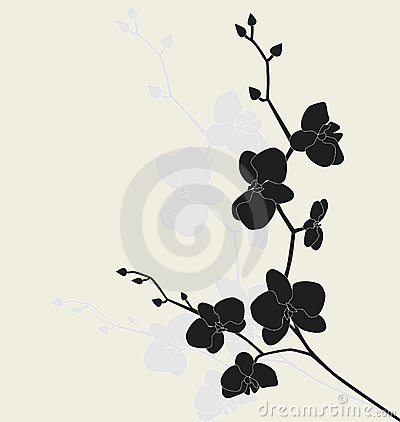 Stylized orchid branch