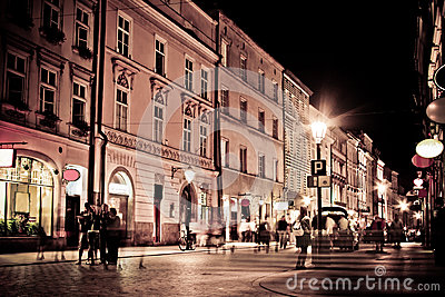 Stylized photo of the city s old street