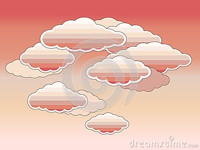 Stylized pink clouds