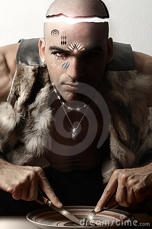 Stylized portrait of tribal man eating