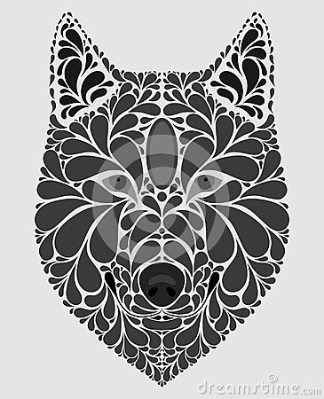 Stylized Portrait Of A Wolf Abstract Dog Head A Predatory