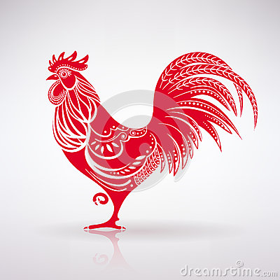 Free Stylized Red Rooster Royalty Free Stock Photos - 70013538