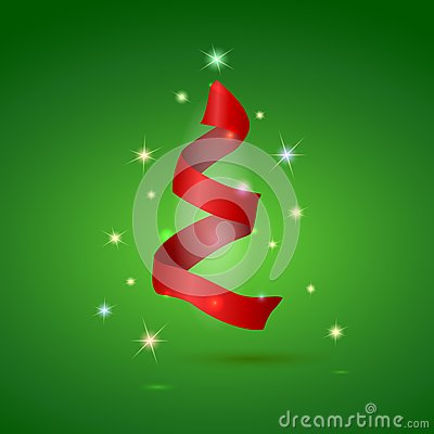 Stylized ribbon Christmas tree . Vector
