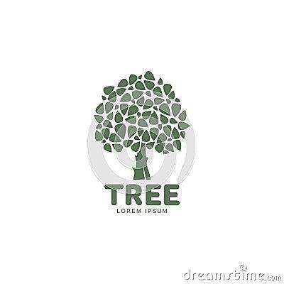 Free Stylized Round Shaped Green Oak Tree Logo Template, Vector Illustration Royalty Free Stock Photo - 82337935