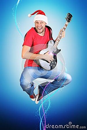Stylized Santa Claus guitarist jump, concept
