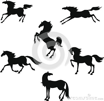 Stylized silhouette of horses
