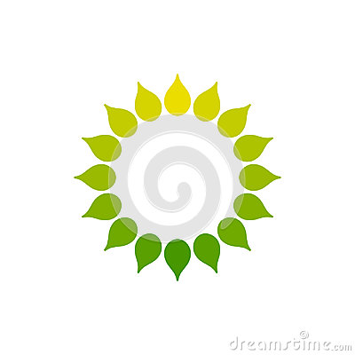 Free Stylized Sun Logo. Round Icon Of Sun, Flower. Isolated Yellow Green Logo On White Background. Frame. Royalty Free Stock Photos - 99193918
