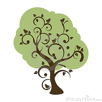 Stylized swirly tree with birds singing
