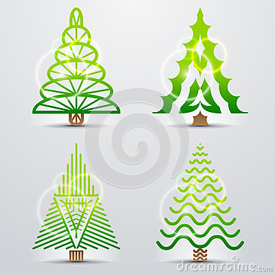 Stylized symbols of christmas tree