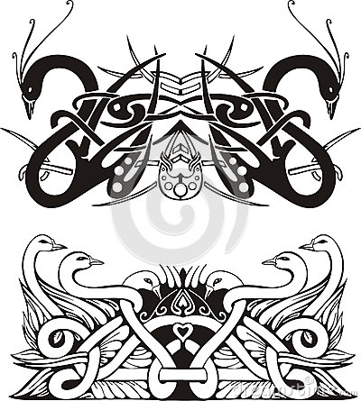 Stylized symmetric knot vignettes with birds