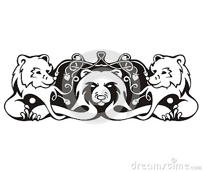 Stylized symmetric vignette with bears