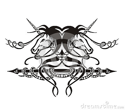 Stylized symmetric vignette with horses