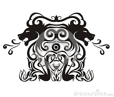 Stylized symmetric vignette with lions