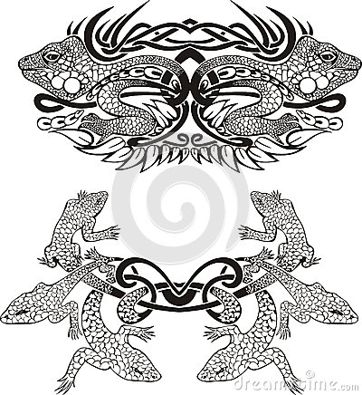 Stylized symmetric vignette with lizards
