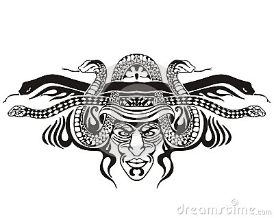 Stylized symmetric vignette with snakes