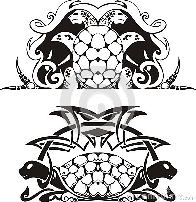 Stylized symmetric vignette with turtles